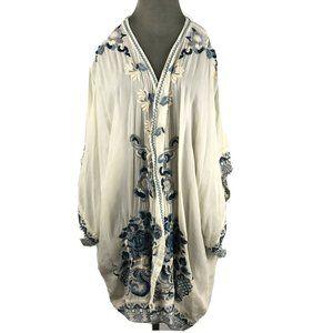 Johnny Was Kimono Ivory Rayon Blue Embroidered